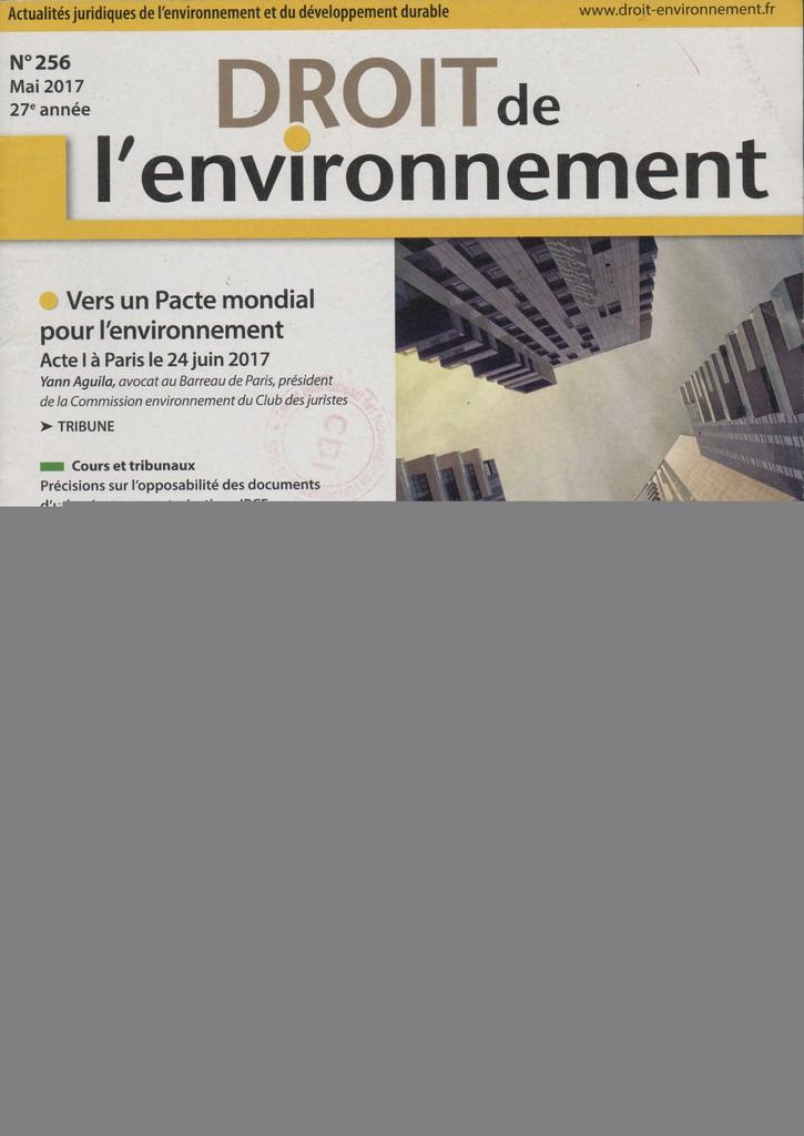Droit de l'environnement. 256, Mardi 9 Mai 2017 |