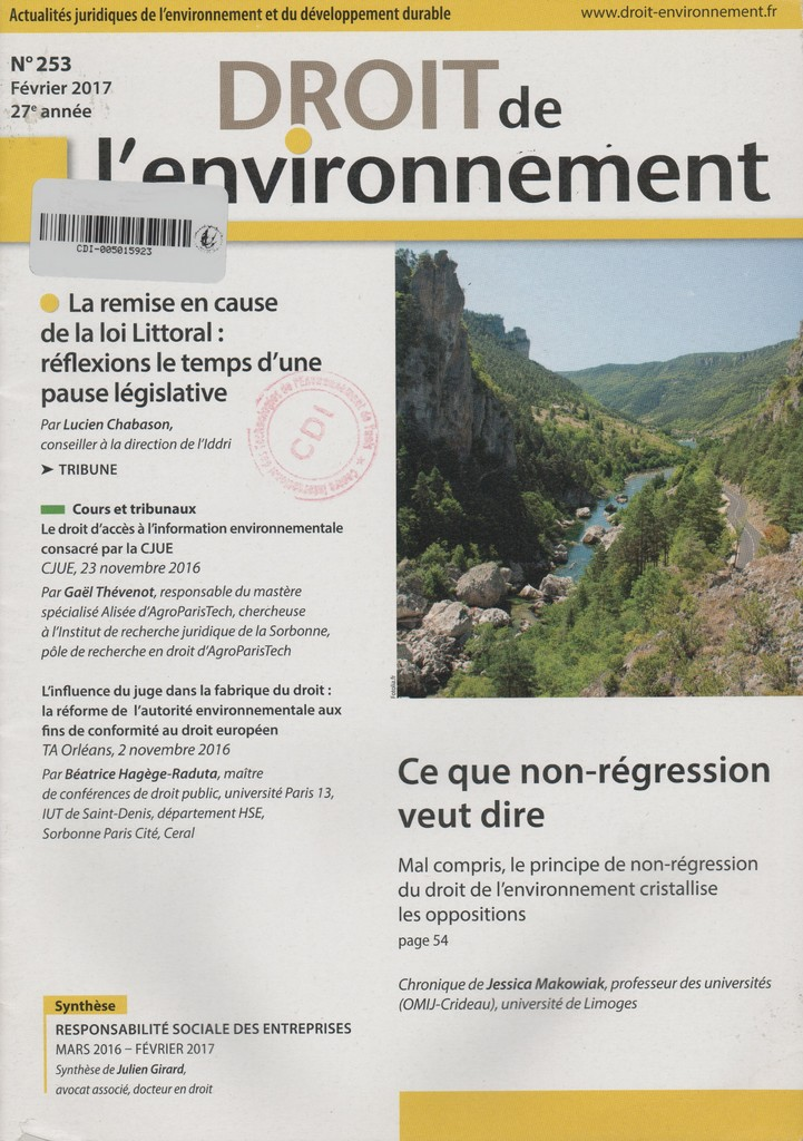 Droit de l'environnement. 253, Jeudi 9 Février 2017 |