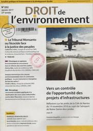 Droit de l'environnement. 252, Lundi 9 Janvier 2017 |