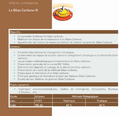atelier de formation portant sur «le Bilan Carbone». |